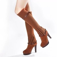 Patchwork Round Toe Platform Over-knee Long Removable Boots