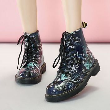 Flower Print Lace Up Round Toe Flat Warm Velvet Short Snow Martin Boots