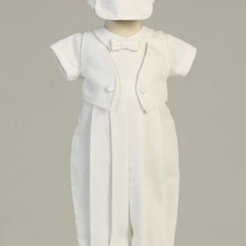 Benjamin Boys Christening White Poly Cotton Long Romper w/ Attached Vest