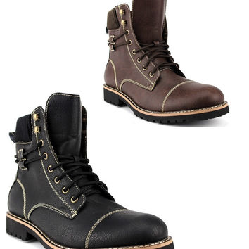 New Men's 808570 Tall Designer Fleece Lined Lace Up Military Combat Desert Work Boots