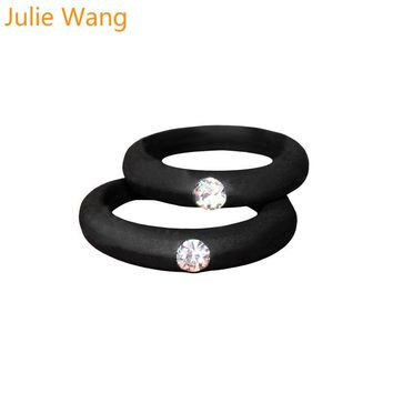 1PCS 5mm Width Simple Silicone Colorful Ring With Rhinestone
