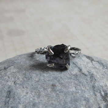 Rough Iolite Ring, 925 Sterling Silver, Raw Iolit Ring, Size 5, Uncut Gemstone, Purple Blue Crystal Quartz, Rustic Jewelry