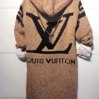 PEAPNN LV Hooded Sweater Knit Cardigan Jacket Coat