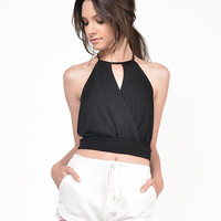 Overlapping Keyhole Halter Top