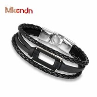 MKENDN High Quality rectangle Round Wood Bracelet Bangle Multi-layer Leather Hand Chain Buckle Men Women Charm Style Bracelet