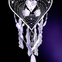 Dreamcatcher, feather dreamcatcher, wedding decor, boho decor, lace dreamcatcher, boho wedding,white dreamcatcher,crystal dreamcatcher, OOAK