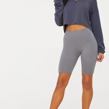 Charcoal Grey Cotton Stretch Cycling Shorts