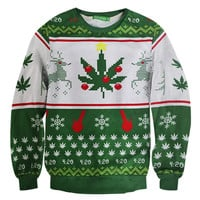 2016 Christmas Sweatshirt Printed Hemp Weed Leaf Deer