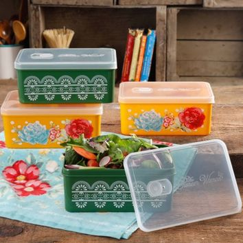 The Pioneer Woman Blossom Jubilee Rectangular Large Food Storage Container Set With Vent, Set Of 4 - Walmart.com