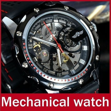Fashion Brand Winner Silicone Band Men Automatic Mechanical Watch Self Wind Skeleton Watch For Men Sport Wristwatch [8833432268]