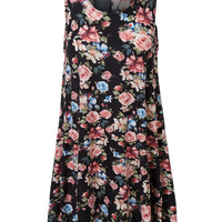LE3NO Womens Oversized Floral Print Sleeveless Flared Tunic Dress with Pockets