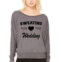 Sweating For The Wedding Ladies' Flowy Long-Sleeve Off Shoulder T-Shirt