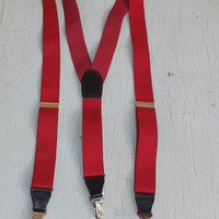 Vintage Cas Germany red Suspenders Men Women Elastic Band Octoberfest Wedding Folk Prom Hipster Boho Preppy