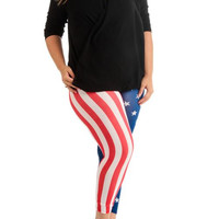 Women's Plus Size American Flag Ankle Leggings