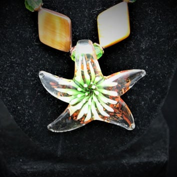 Copper Mother of Pearl Hand-blown Glass Starfish Necklace Set