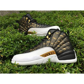 "Air Jordan 12 ""Wings""Gold black/white Basketball Shoes   41---47"