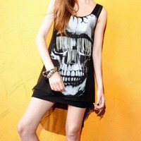 Skeleton High Low Vest Dress with Chain in Mesh