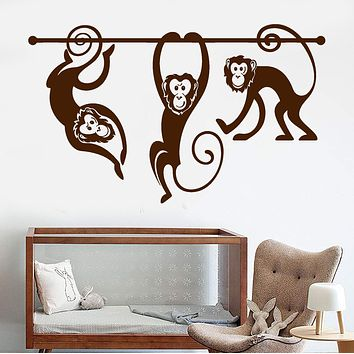 Vinyl Wall Decal Monkey Zoo Animals Nursery Playroom Children's Room Stickers Unique Gift (696ig)