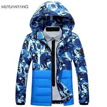 Mu Yuan Yang Mens Fatigues Jackets 2017 New Fashion White Duck Down Men' s Hooded Down Jacket And Coat Overcoat 2XL 3XL
