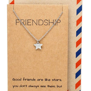 Ria Best Friend Necklaces with Star Pendant and Friendship Quotes Greeting Card