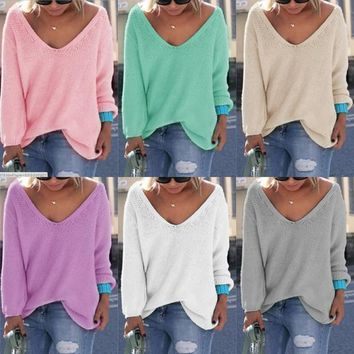 6 Colors Fashion Women Clothing 2016 New Autumn Fashion Sexy V Neck Women Sweaters Long Sleeve Knitted Pullovers
