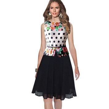 Casual Spring& Summer Plus Size Womens Fashion Polka dot Chiffon Vintage Fitted Tunic Party Shift Wiggle Work Dress = 1946830148