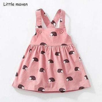 Little maven kids brand clothes 2018 autumn baby girls clothes Cotton flower print sundress girl animal sleeveless dresses