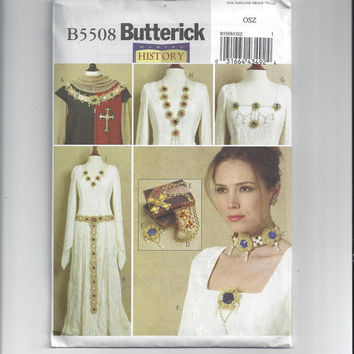 New Butterick 5508 History Costume Pattern for Historical Jewelry - Collar, Belt, Choker & Jewelry, FACTORY FOLDED and UNCUT, From 2010