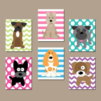 DOG Wall Art, CANVAS or Prints, Baby Girl Nursery Decor, Puppy Art, Girl Bedroom Decor, Dog Theme, Dog Pictures, Set of 6, PLAYROOM Decor