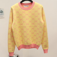 Gucci 2018 hit early jacquard double G letter pullover sweater women's sweaters