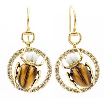 GUCCI Scarab Hook Earrings in 18k Yellow Gold with Diamonds, Agate and Tiger Eye