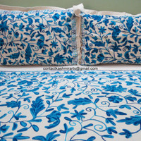 Blue White Embroidered Duvet Cover set/Doona Cover Custom made/Floral/Double/King size/Single/Super King size/CAL King/Tailored/Queen size