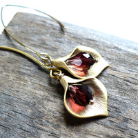 Burgandy and Gold Calla Lily Earrings