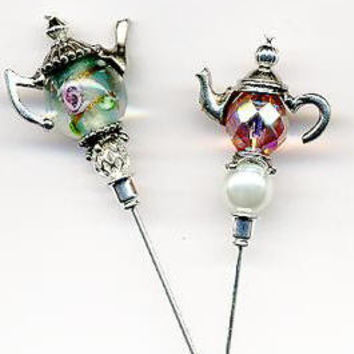 """Roses under Glass"" Silver Teapot Hatpins Pair"
