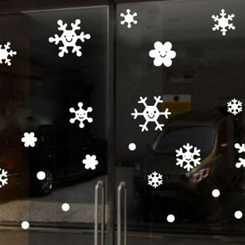 Christmas Wall Window Stickers 2018 Oujing Angel Snowflake Wall Window Stickers Christmas Xmas Vinyl Art Decoration Decals Hot
