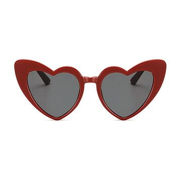 The Funky Heart Sunglasses Red Dark