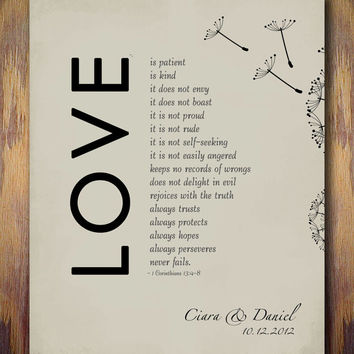 1st Wedding Paper Anniversary Gift Print, 1 Corinthians 13 Love is Patient Bible Verse personalized with NAMES 8 x 10