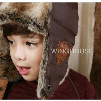 Retail New New Baby Kid's Winter Plush Earflap hat Baby Cap Hat Earmuff Leifeng Hat Free Shipping