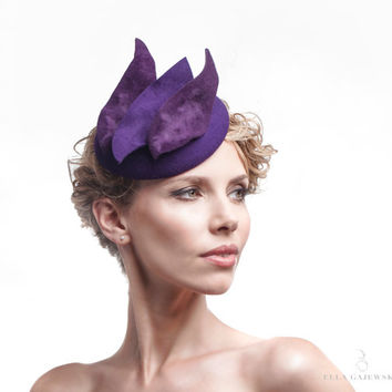 Purple Headpiece on a Headband - Easy to Wear Hats - Pillbox Fascinator - Cocktail Hair Piece - Womens Accessories