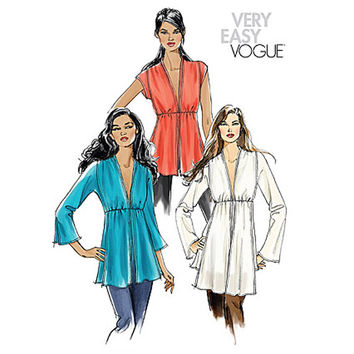 VOGUE WOMEN'S TUNIC Top Pattern Deep V-Neckline Sexy Tunic Tops Blouse Very Easy Vogue 8153 Bust 36 38 40 42 UNCuT Plus Size Sewing Patterns