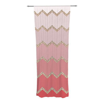 "Monika Strigel ""Avalon Coral Ombre"" Pink Chevron Decorative Sheer Curtain"