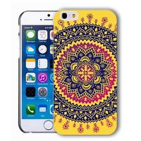 ChiChiC Iphone case, i phone 6 case, iphone6 case,iphone 6 case,iphone 6 4.7 cases, plastic cases back cover skin protector,geometric ethnic tribal indian pattern yellow navy blue mandala