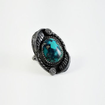 Morenci Turquoise Ring - Native American Turquoise Ring Size 5.5 - Morenci Stone Ring - Navajo Sterling Ring