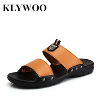 Fshion New Mens Beach Shoes Summer Flat Sandles Footwear Leather Sandals Size39-44 Black Breathable Chinelo For Men Comfortable