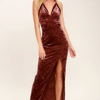 ASTR the Label Farrah Rusty Rose Velvet Maxi Dress