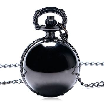 Fashion Black/Silver Ball Shape Necklace Pocket Watch Retro Small Smooth Steampunk Quartz Pendant Gift For Kid Women