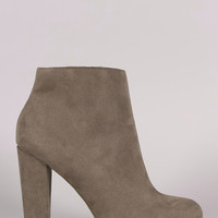 Bamboo Suede Plain Chunky Heeled Booties