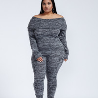 Take It Easy Baby Gray Off The Shoulder Jumpsuit Plus Size