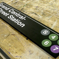 Large Grand Central Station Subway Sign - Hand Painted Wood