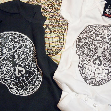 Black Sugar Skull Creeper - Day of the Dead Bodysuit - Kids sugar skull shirt girls boys 18 24